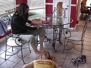 Dominant girl smell her sweaty feet
