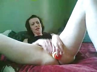 she cums on her dildo (self-shot)