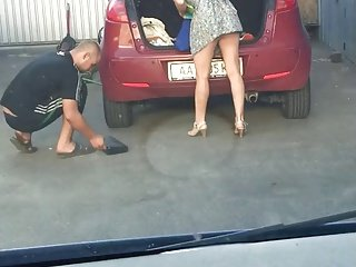 Upskirt At The Tire Centre