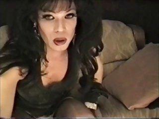 Dark Haired Tranny Lisa Dupree Smoking & Wanking