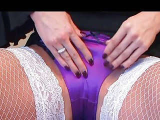 Lucy in purple satin panties masturbating