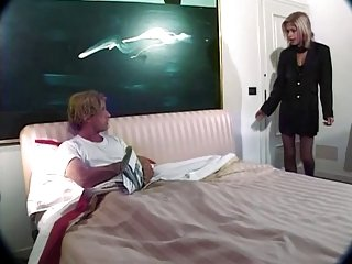 Thin Latina shemale gets fucked, milks her lover's cock