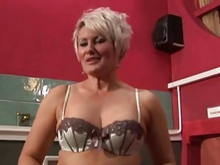 Hot Mature Brit Cougar Toying in Stockings