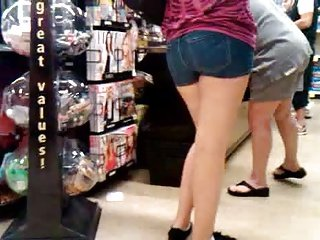 Candid Jean Short Shorts In Line
