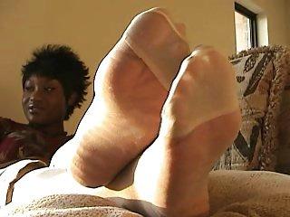 Ebony Nylon Feet Play