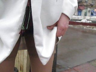 Flashing tan stockings tops outdoor