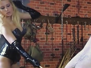 Mistress is beating male slave
