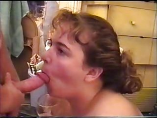 bbw hot lady filling all holes and drinking cum from a glass