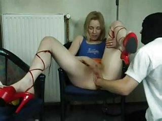 German hot lady dildo fist play