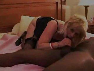 Blonde Wife Satisfies Big black dick in Motel