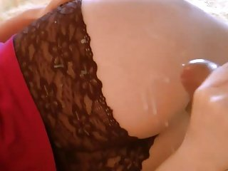handjob cums on her ass