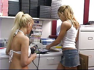 Beautiful blonde tattooed lesbian loves to shove her tongue in girlfriend's ass