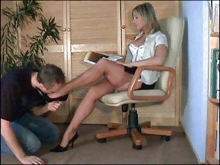 Classy lady has feet worship