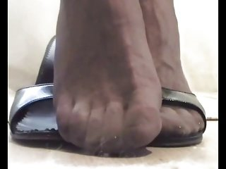 P 3-4 - FOOT FETISH: My Feet in Stockings with open Mules