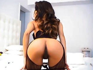 Latin slut strips and masturbates