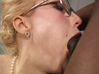Sexy Hot lady glasses stockings Big black dick anal