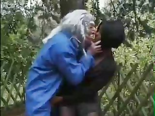 Old Man Makes  Ebony Woman Suck His Dick In Woods