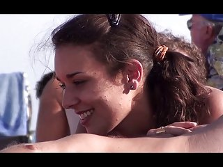 French nudist beach Cap d'Agde hot brunette sucking -- R2F