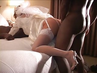 White Bride Fuck by 2 Big black dick on Wedding Night - Cuckold
