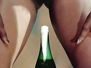 bizarre champagne bottle opening