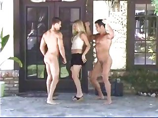 Beautiful woman and two lucky naked guys dancing (CFNM)