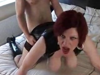 Busty Redhead Mature In Latex Gets Humped