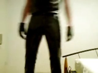 Having fun in pvc pants, leather gloves, latex shirt.