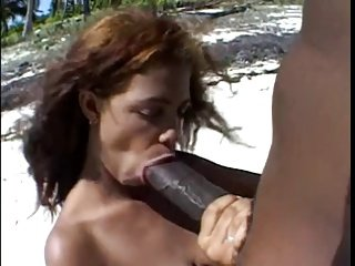 Big brown nipples &Big brown dick on the beach.