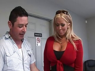 Hot lady at the garage shop