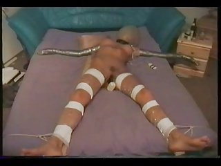 Slut in extreme bondage to cum