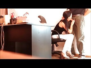 Brunette Public Work Office Blow job
