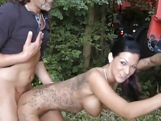 tattooed slim brunette get fuck outdoor