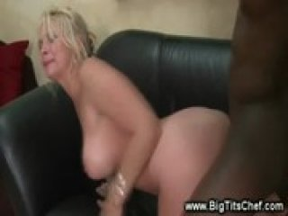 Hot cougar gets interracial fuck doggystyle