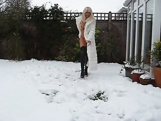 hot lady in fur coat and boots