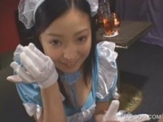 Close-up with brunette asian giving BJ