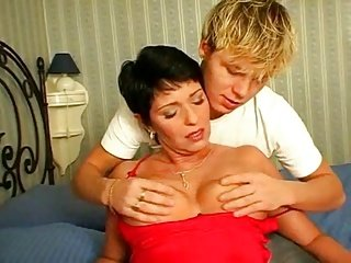 Busty Short Hair Brunette Loves Young BVR