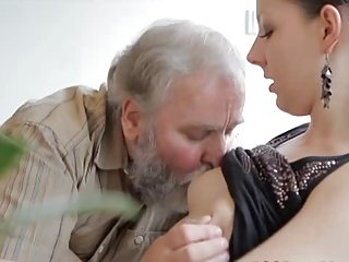 Teen gets fuck by an old man while her boyfriend watches