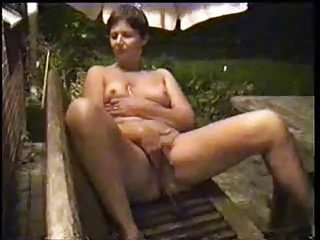 Exhibitionist slut wife fully nude fingering in the garden