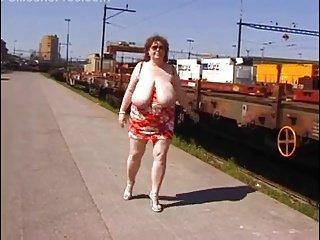 Mature big tits exhibitionist