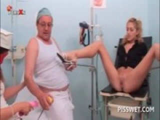 Cute blonde gets bald pussy toyed at the gynecologist