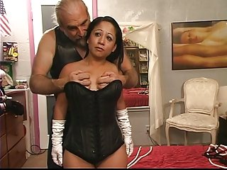 A little latina hot lady gets freaky with rope on the bed