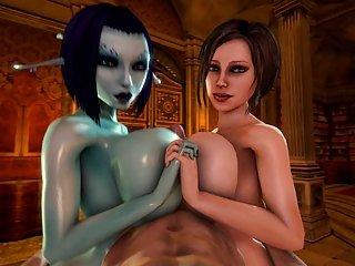 Soria and Trishka Double Tittyfuck (3D)