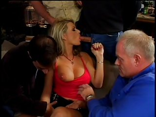 The amazing Vicky Vette pleasuring a lot of guys