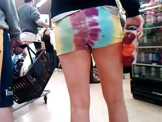 Candid Hippie Short Shorts Hottie
