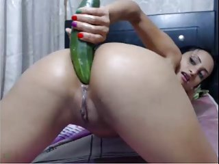 colombian girl fucks ass w cuke and gapes on cam