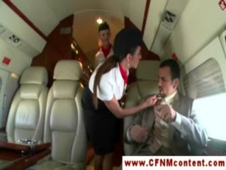 CFNM flight attendants fuck passenger
