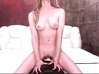 Brunette with perky cute breasts rides sybian