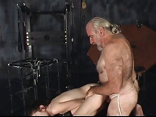 BDSM brunette slut gives BJ uses vibrator and gets fuck and jizzed in dungeon
