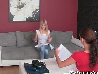Sexy blonde whore gets randy talking