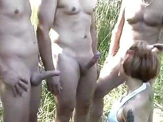 Nude Beach - Cute Teen with three old men